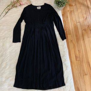 Flax Dresses - FLAX Long Sleeve Black Long Sleeve Maxi Dress S